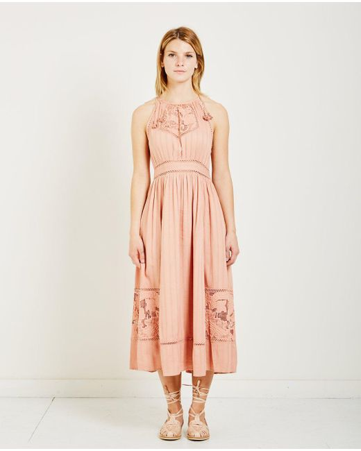 Ulla Johnson - Pink Hania Floral Embroidery Dress - Lyst