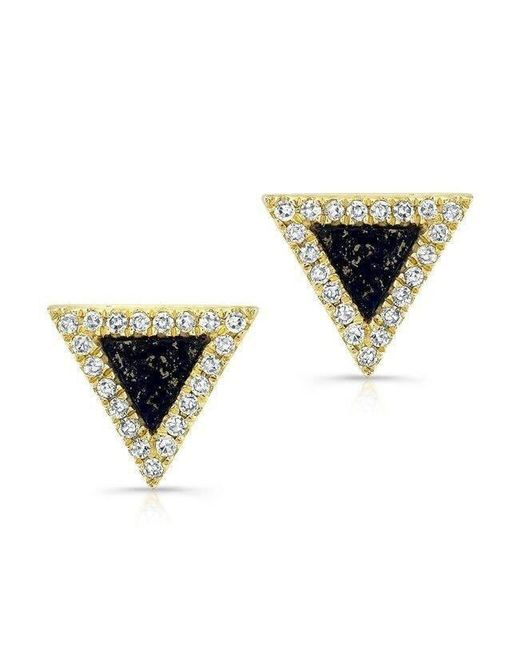 Anne Sisteron - Metallic 14kt Yellow Gold Lapis Lazuli Diamond Triangle Stud Earrings - Lyst