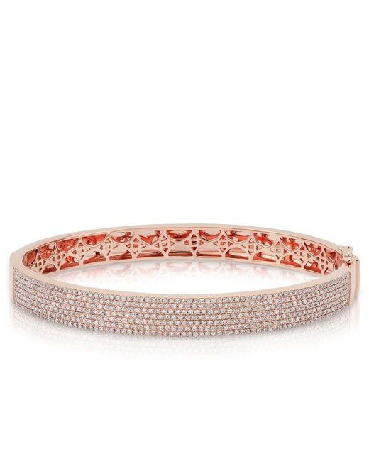 Anne Sisteron | Pink 14kt Rose Gold Diamond Belle Half Pave Bangle | Lyst