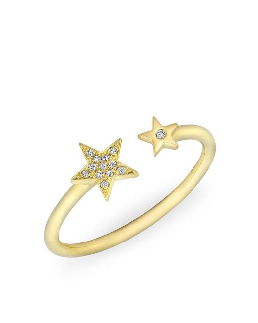 Anne Sisteron   Metallic 14kt Yellow Gold Diamond Open Stars Ring   Lyst