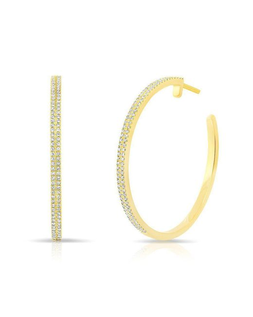 """Anne Sisteron - Metallic 14kt Yellow Gold Diamond 1 1/4"""" Hoop Earrings - Lyst"""