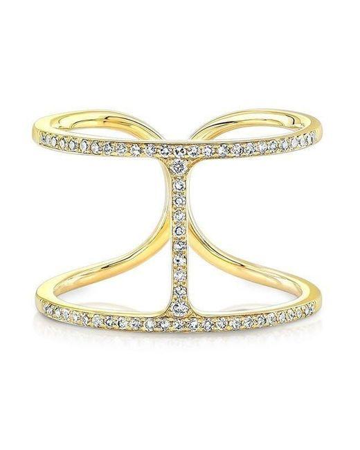 Anne Sisteron - Metallic 14kt Yellow Gold Diamond H Ring - Lyst