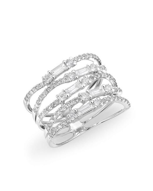 Anne Sisteron - Metallic 14kt White Gold Diamond Baguette Stacked Ring - Lyst