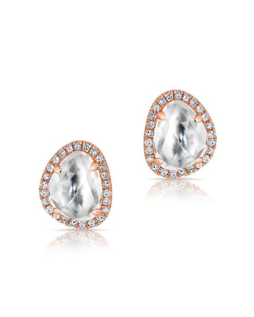 Anne Sisteron - Metallic 14kt Rose Gold Mini Organic Topaz Diamond Stud Earrings - Lyst