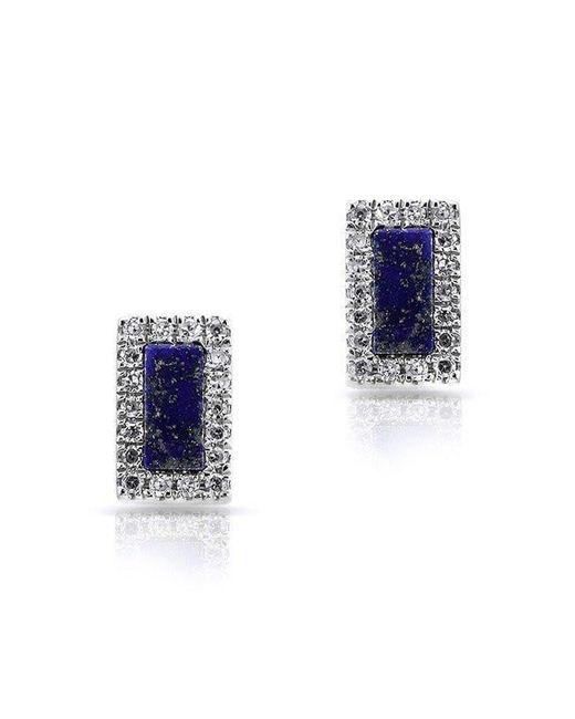 Anne Sisteron - Blue 14kt White Gold Lapis Diamond Bar Stud Earrings - Lyst