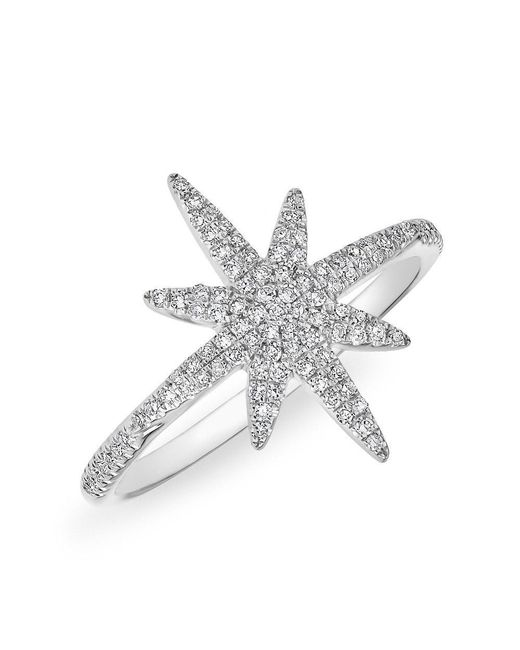 Anne Sisteron | Metallic 14kt White Gold Diamond Glimmer Star Ring | Lyst