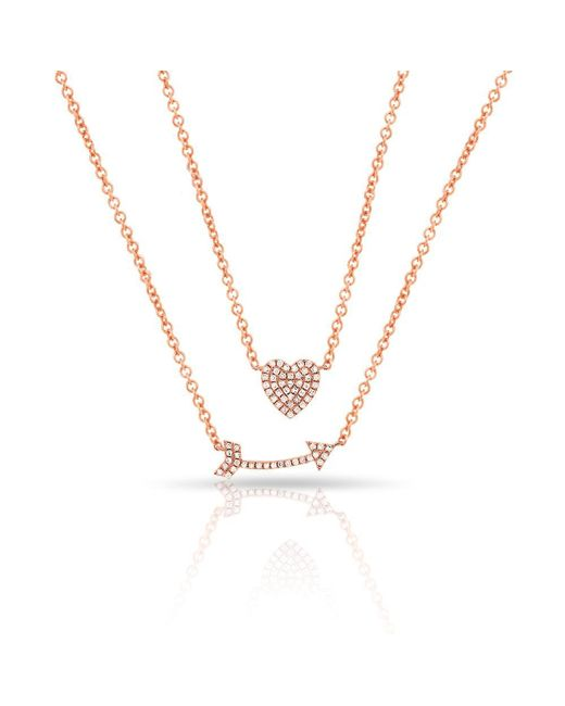 Anne Sisteron - Metallic 14kt Rose Gold Diamond Cupid's Bow Necklace - Lyst