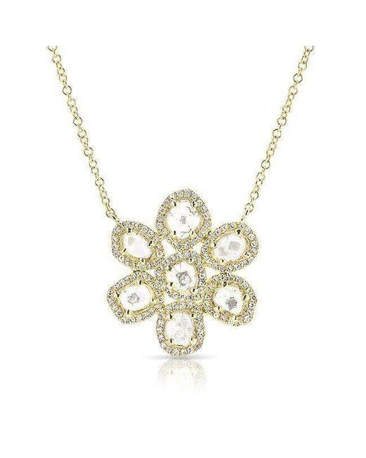 Anne Sisteron - Metallic 14kt Yellow Gold Diamond Slice Mae Small Flower Necklace - Lyst