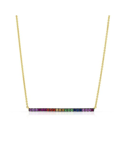Anne Sisteron - Metallic 14kt Yellow Gold Oxidized Rainbow Bar Necklace - Lyst