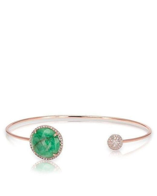 Anne Sisteron - Metallic 14kt Rose Gold Emerald And Diamond Disc Bracelet - Lyst
