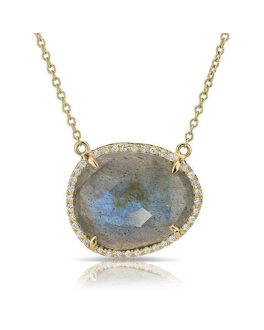Anne Sisteron - Metallic 14kt Yellow Gold Labradorite Diamond Necklace - Lyst