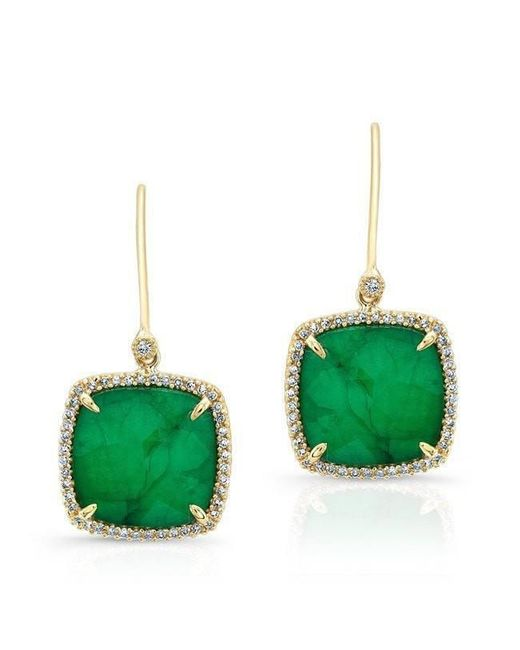Anne Sisteron - Green 14kt Yellow Gold Emerald Diamond Small Cushion Cut Earrings - Lyst