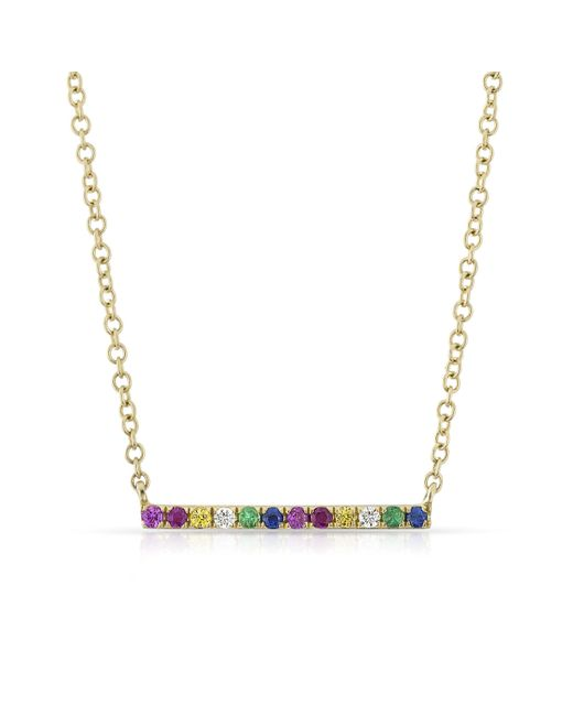 Anne Sisteron - Metallic 14kt Yellow Gold Rainbow Diamond Bar Necklace - Lyst