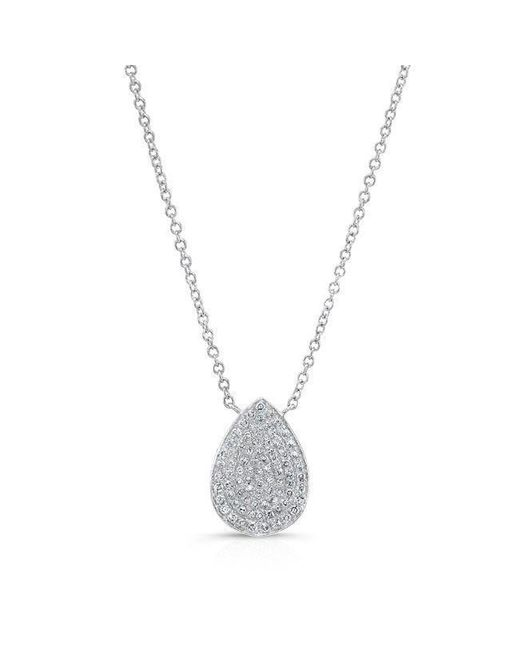 Anne Sisteron - Metallic 14kt White Gold Diamond Medium Pear Shaped Necklace - Lyst