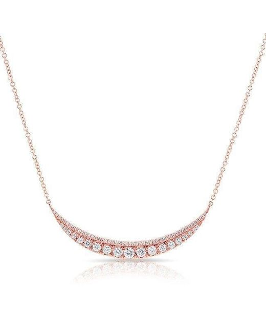 Anne Sisteron - Metallic 14kt Rose Gold Layered Diamond Crescent Necklace - Lyst