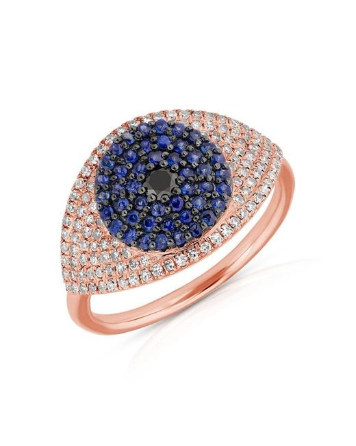 Anne Sisteron - Pink 14kt Rose Gold Diamond And Blue Sapphire Evil Eye Ring - Lyst
