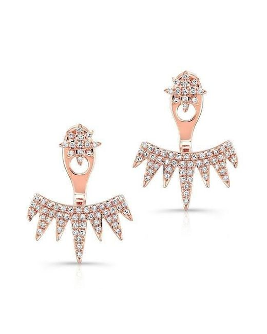 Anne Sisteron - Multicolor 14kt Rose Gold Diamond Spiked Tiara Floating Earrings - Lyst