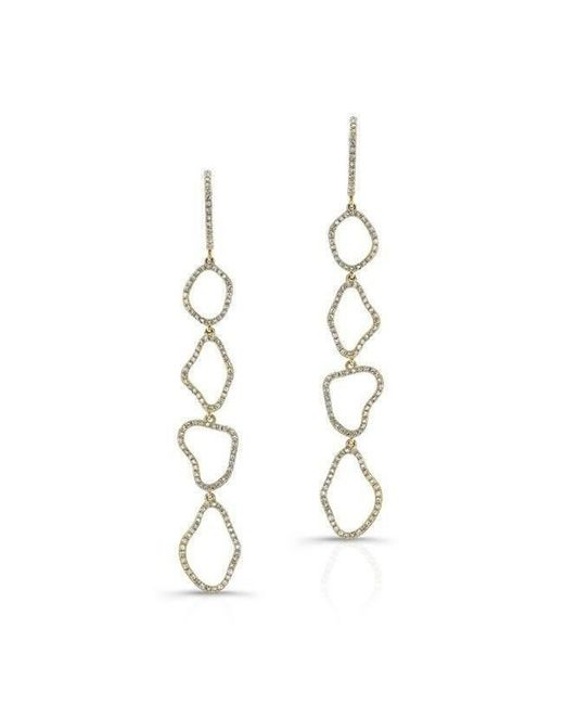 Anne Sisteron - Metallic 14kt Yellow Gold Diamond Organic Open Drop Earrings - Lyst