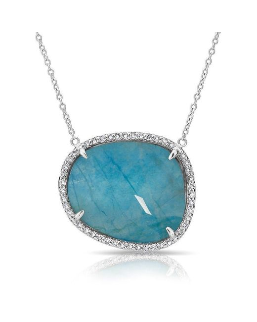 Anne Sisteron | 14kt White Gold Blue Apatite Diamond Necklace | Lyst