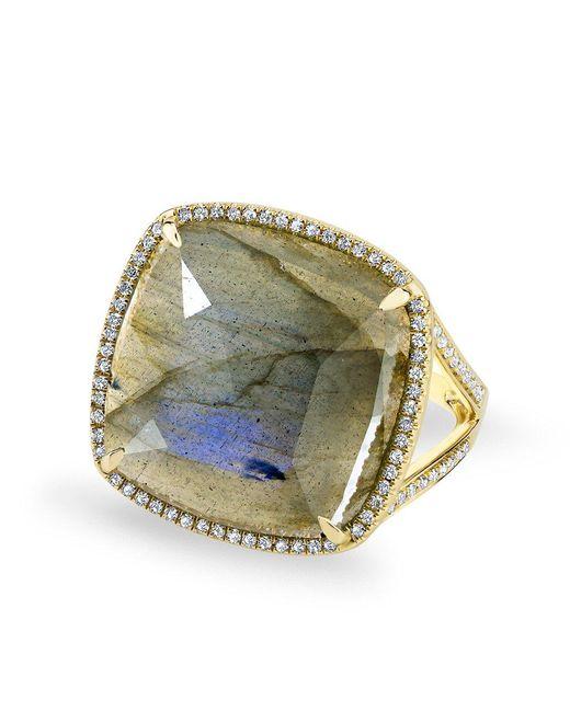 Anne Sisteron - Metallic 14kt Yellow Gold Labradorite Diamond Cushion Cut Cocktail Ring - Lyst