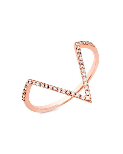 Anne Sisteron - Multicolor 14kt Rose Gold Diamond Double Bar Ring - Lyst
