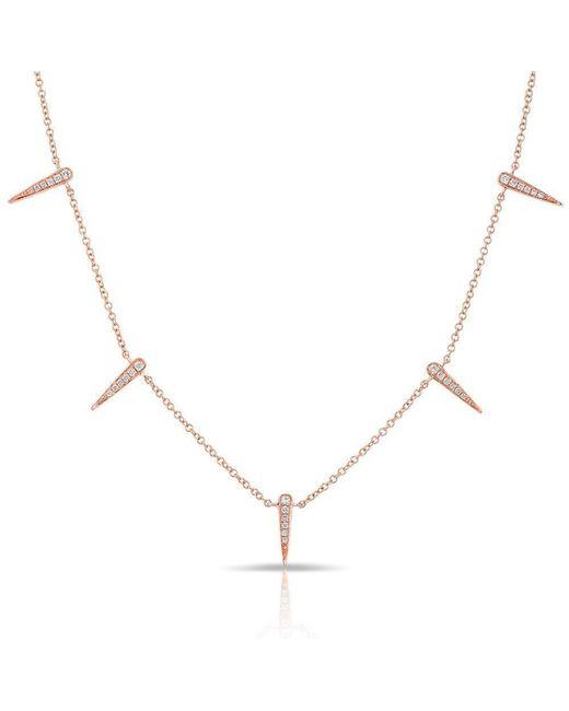 Anne Sisteron - Metallic 14kt Rose Gold Diamond Multi Mini Dagger Necklace - Lyst
