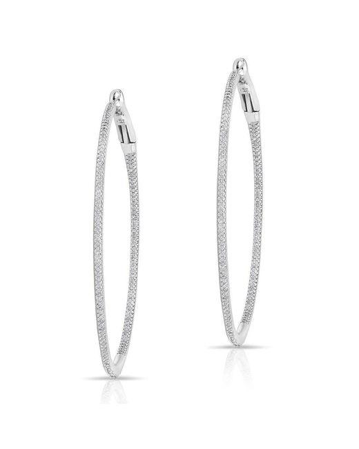 "Anne Sisteron | Multicolor 14kt White Gold Diamond 2"" Hoop Earrings | Lyst"
