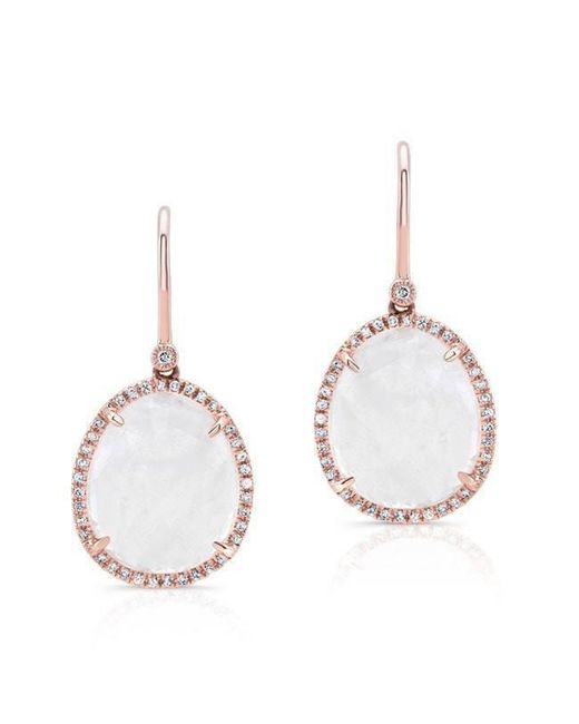 Anne Sisteron - Metallic 14kt Rose Gold Diamond Moonstone Organic Earrings - Lyst