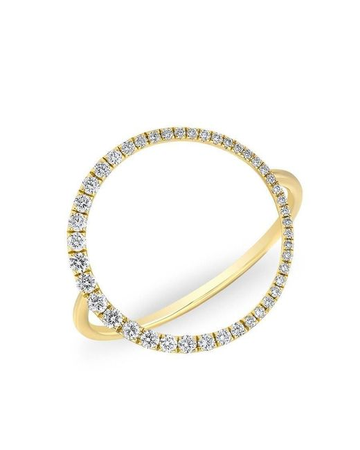 Anne Sisteron | Metallic 14kt Yellow Gold Diamond Luxe Open Circle Ring | Lyst