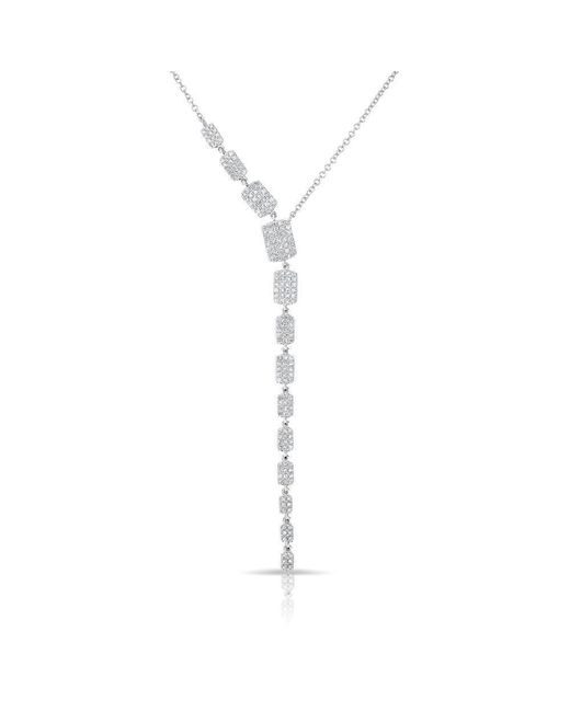 Anne Sisteron - Metallic 14kt White Gold Diamond Brick Drop Sienna Lariat Necklace - Lyst
