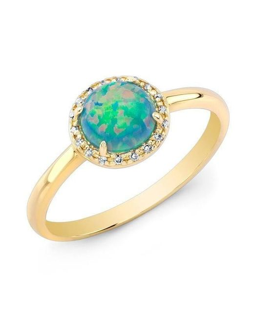 Anne Sisteron - Metallic 14kt Yellow Gold Green Opal Diamond Solitaire Ring - Lyst