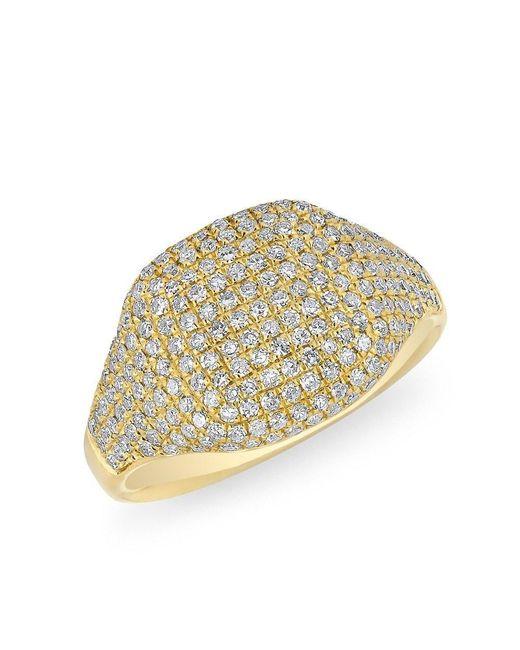 Anne Sisteron | Metallic 14kt Yellow Gold Diamond Cushion Pinkie Ring | Lyst