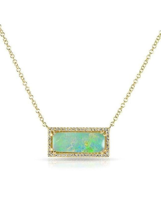 Anne Sisteron - 14kt Yellow Gold Green Opal Diamond Block Necklace - Lyst