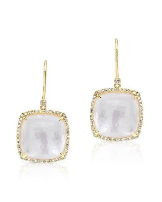 Anne Sisteron - White 14kt Yellow Gold Diamond Mother Of Pearl Cushion Cut Earrings - Lyst