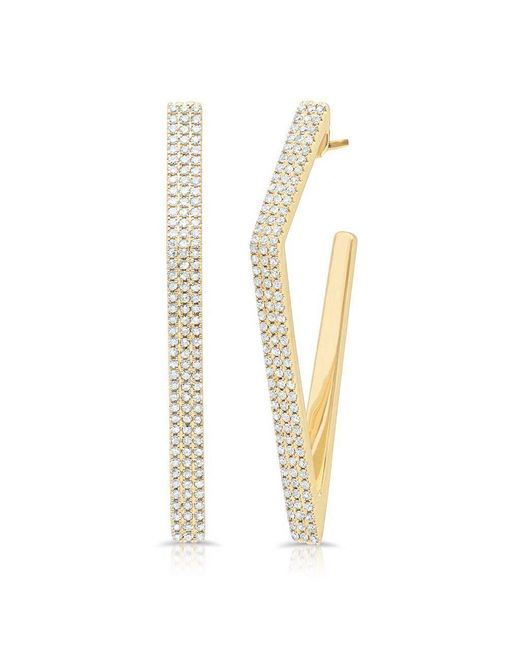 Anne Sisteron - Multicolor 14kt Yellow Gold Diamond Edgy Wishbone Earrings - Lyst