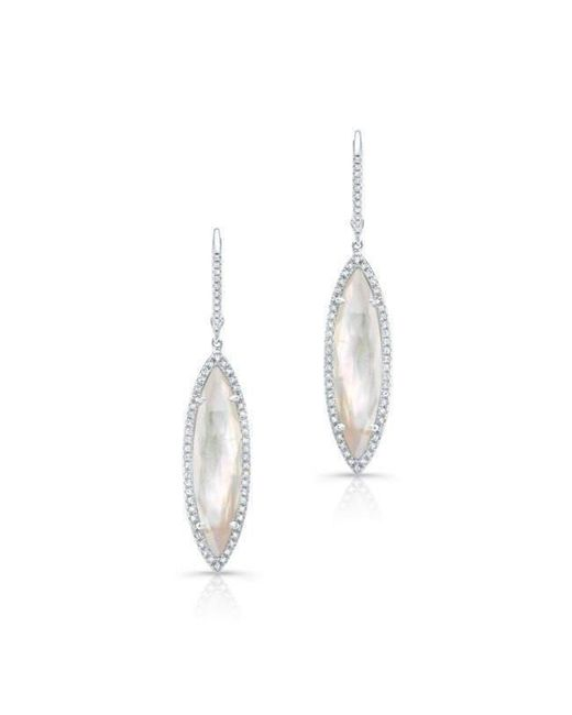 Anne Sisteron | Multicolor 14kt White Gold Diamond Mother Of Pearl Small Celeste Marquis Earrings | Lyst