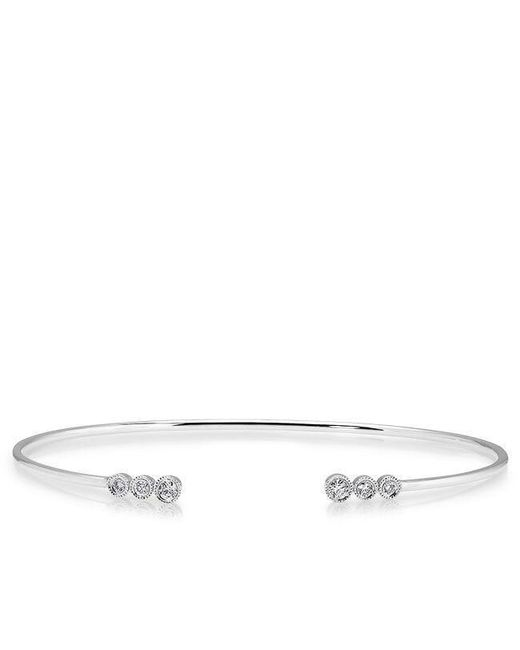 Anne Sisteron | Metallic 14kt White Gold Diamond Open Bezel Cuff | Lyst