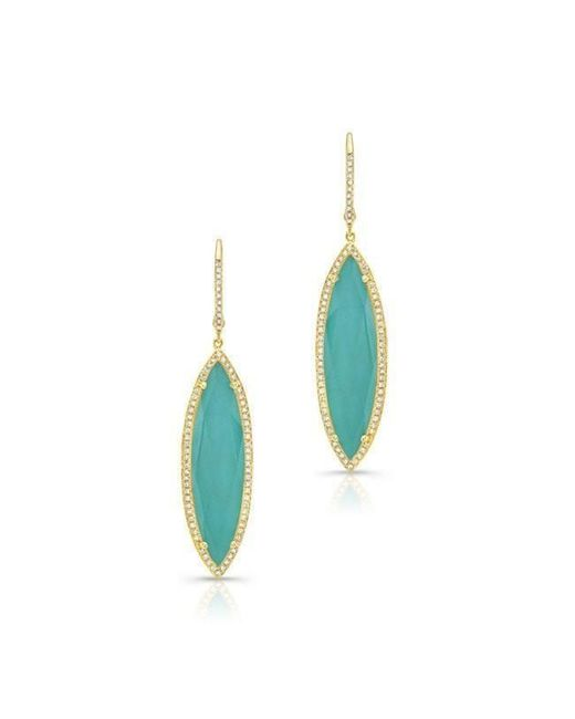 Anne Sisteron - Blue 14kt Yellow Gold Diamond Turquoise Turquesa Small Marquis Earrings - Lyst