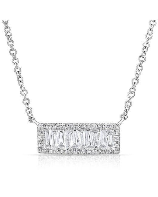 Anne Sisteron | Metallic 14kt White Gold Baguette Diamond Mini Edge Bar Necklace | Lyst