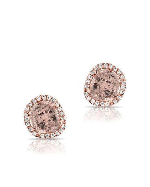 Anne Sisteron | Multicolor 14kt Rose Gold Diamond Slice Stud Earrings | Lyst
