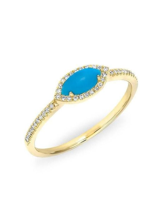 Anne Sisteron - Multicolor 14kt Yellow Gold Diamond Turquoise Mini Marquis Ring - Lyst