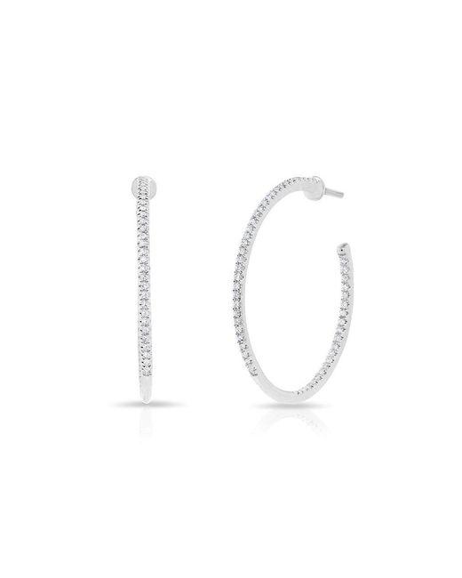 "Anne Sisteron - Metallic 14kt White Gold Diamond 1"" Hoop Earrings - Lyst"