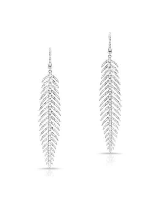 Anne Sisteron - Multicolor 14kt White Gold Diamond Feather Earrings - Lyst