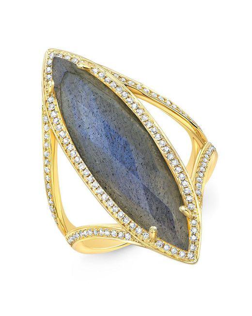 Anne Sisteron - Metallic 14kt Yellow Gold Diamond Labradorite Alexis Ring - Lyst