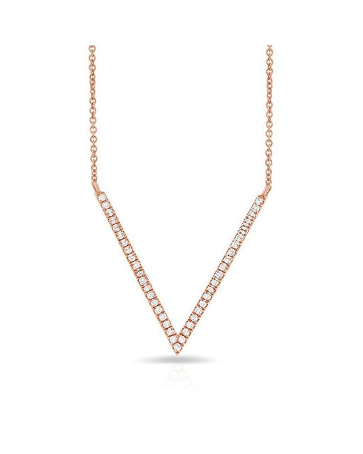 Anne Sisteron - Metallic 14kt Rose Gold Diamond V Necklace - Lyst