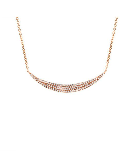 Anne Sisteron - Metallic 14kt Rose Gold Diamond Wide Crescent Necklace - Lyst