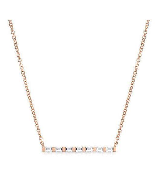 Anne Sisteron - Metallic 14kt Rose Gold Baguette Diamond Bar Necklace - Lyst