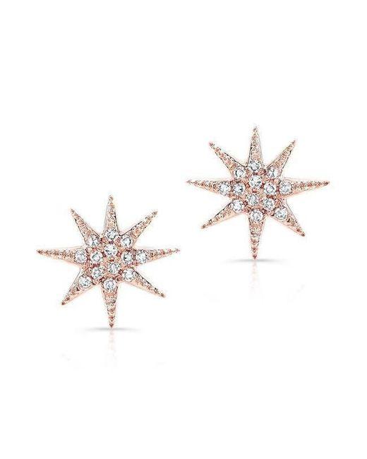 Anne Sisteron - Metallic 14kt Rose Gold Diamond Glimmer Star Stud Earrings - Lyst
