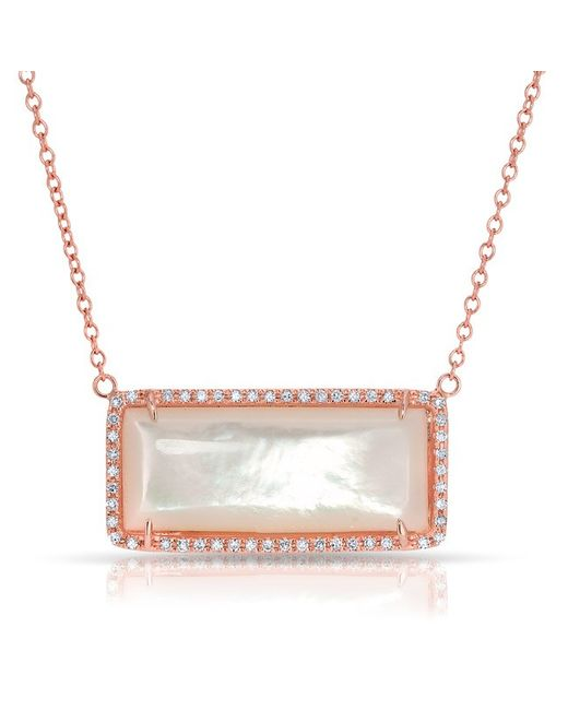 Anne Sisteron | Metallic 14kt Rose Gold Mother Of Pearl Diamond Brick Necklace | Lyst