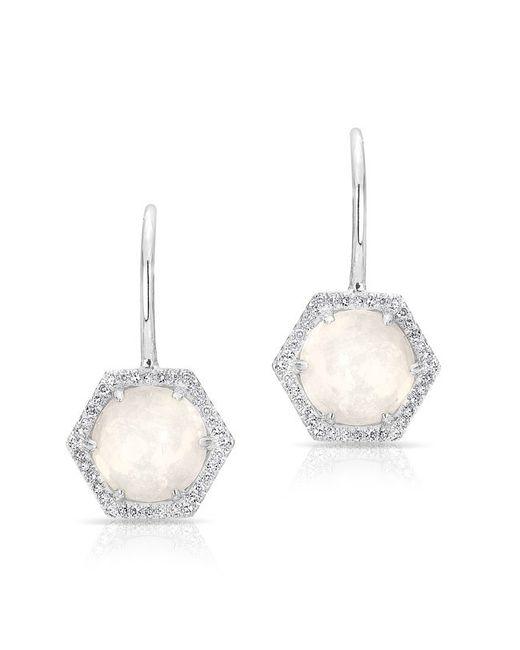 Anne Sisteron | Metallic 14kt White Gold Opal Diamond Hexagon Wireback Earrings | Lyst